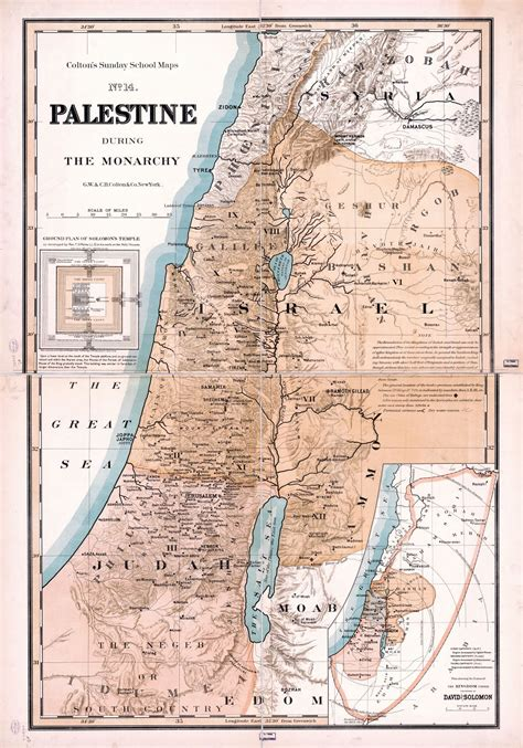 Large scale detailed old map of Palestine during the