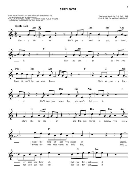 """Phil Collins """"Easy Lover"""" Sheet Music PDF Notes, Chords"""