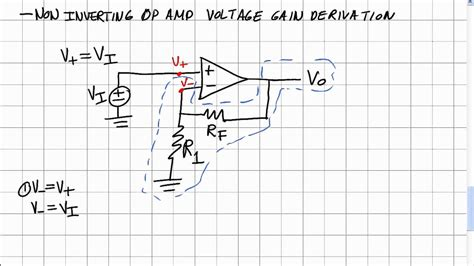 Op-amps 3: Non-inverting Amp Voltage Gain Derivation - YouTube