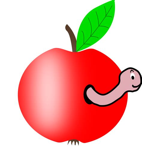 Clipart - Apple Red with a Green Leaf with funny Worm