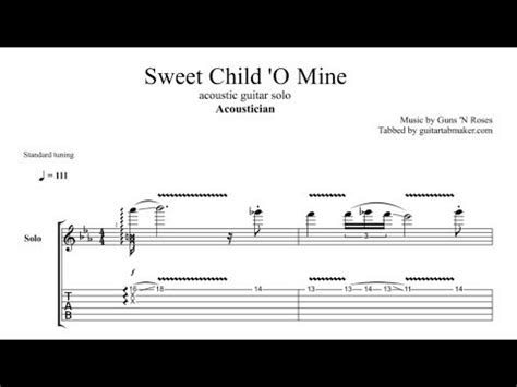 Acoustician - Sweet Child 'O Mine solo TAB - acoustic