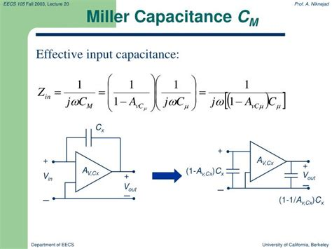 PPT - Lecture 20: Frequency Response: Miller Effect