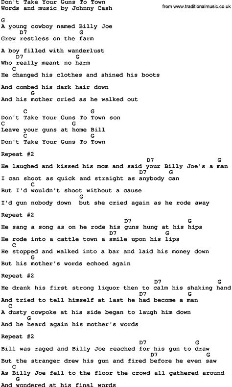 Country Music:Don't Take Your Guns To Town Lyrics and Chords