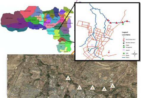 Map of Tigray (Top right) and Mekelle city road map (top