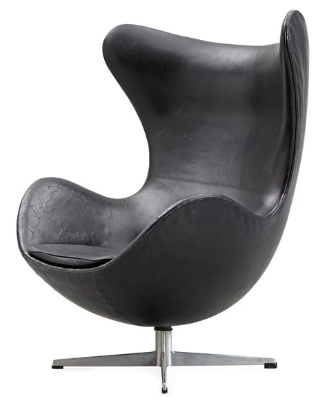 An Arne Jacobsen black leather and steel 'Egg Chair