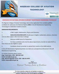 Nigerian College of Aviation Technology (NCAT) Admission