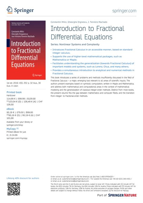 (PDF) Introduction to Fractional Differential Equations