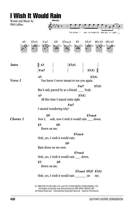 I Wish It Would Rain by Phil Collins - Guitar Chords